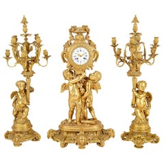 Large Louis XVI Style Gilded Clock Garniture