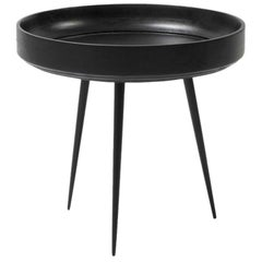 Small Bowl Side Table, Mango Wood Black Stain, Steel Legs by Mater Design