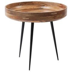 Small Bowl Side Table Mango Wood Natural Lacquer, Steel Legs by Mater Design