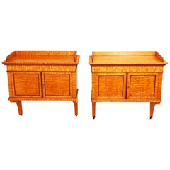 Antique 19th Century Pair of Ash Hanging Cupboards
