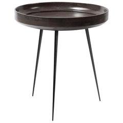 Medium Bowl Side Table Mango Wood Sirka Grey Stain, Steel Legs by Mater Design
