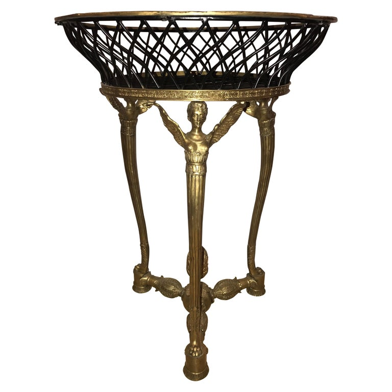 19th-20th Early Empire Bronze Basket or Jardinière on Figural Gilt Bronze Stand