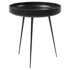 Medium Bowl Side Table Mango Wood Black Stain, Steel Legs by Mater Design