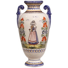 Tall Early 20th Century French Hand-Painted Faience Vase Signed Henriot Quimper