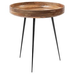 Medium Bowl Side Table Mango Wood Natural Lacquer, Steel Legs by Mater Design