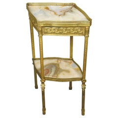 19th Century French Louis XVI Style Gilt Bronze and Onyx Table
