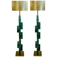 Pair of Emerald Green Murano Floor Lamps Brass Lampshade, 1970s