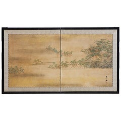 Japanese Meiji Period Two-Panel Landscape Screen