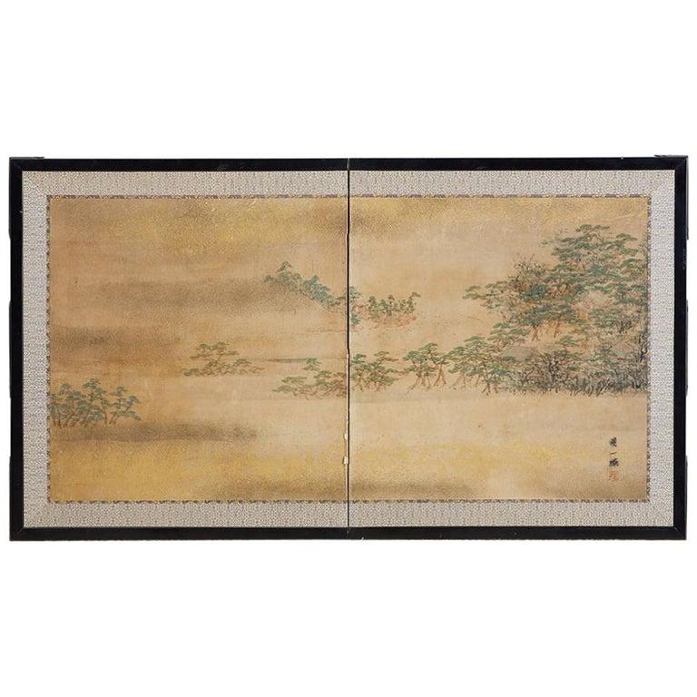 Japanese Meiji Period Two-Panel Landscape Screen