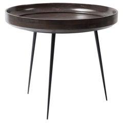 L Bowl Side / Coffee Table Mango Wood Sirka Grey Stain Steel Legs Mater Design