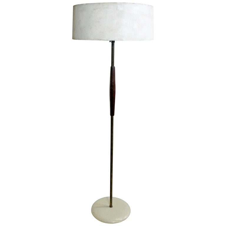 Mid Century Modern Gerald Thurston For Lightolier Br Teak Floor Lamp