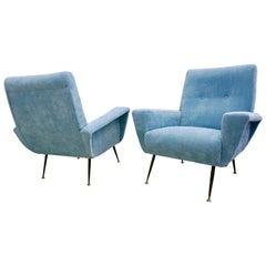 1950s Italian Vintage Pair of Aquamarine Armchairs in Modern Zanuso Style