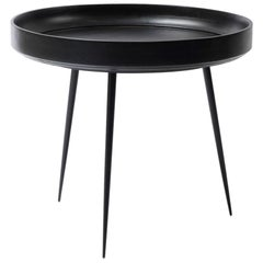 L Bowl Side or Coffee Table Mango Wood Black Stain Steel Legs by Mater Design
