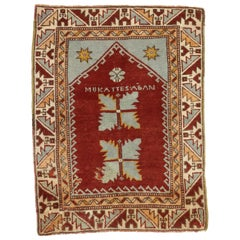 Vintage Turkish Oushak Rug for Kitchen, Bath, Foyer or Entryway, Prayer Rug