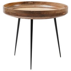 L Bowl Side / Coffee Table Mango Wood Natural Lacquer Steel Legs by Mater Design