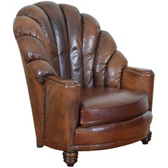 French Art Deco Leather Upholstered Club Chair, Second Quarter of 20th Century