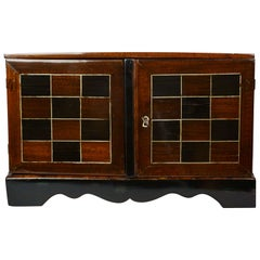 18th Century French Marquetry Rosewood Ebony Silver Cabinet
