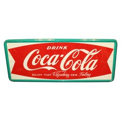 "1950s Coca-Cola ""Enjoy That Refreshing New Feeling"" Metal Fishtail Sign"