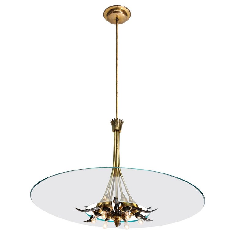 Crystal and Brass Hanging Fixture by Lumi For Sale