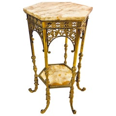 Bronze Marble-Top Two-Tier Pedestal or End Table Finely Carved