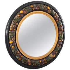 Large Round French Barbola Mirror