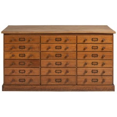 Edwardian Mahogany Bank of Drawers, England, circa 1900