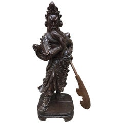 Chinese Wood Carving of Guanyu, circa Late 20th Century