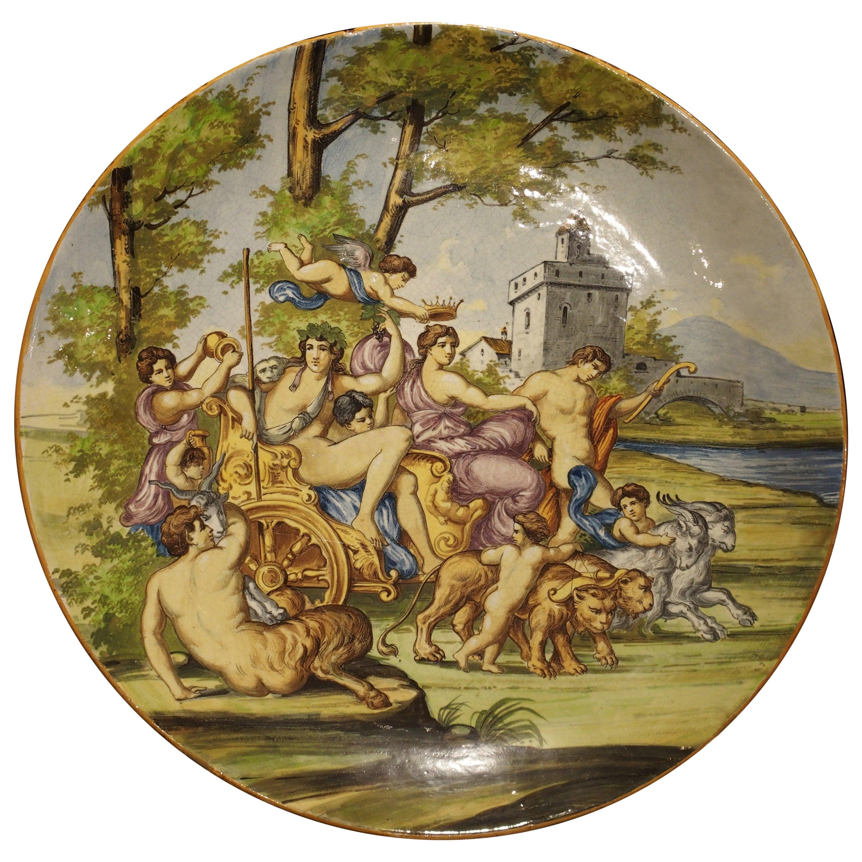 Large Antique Italian Majolica Platter, Bacchus and Ariadne