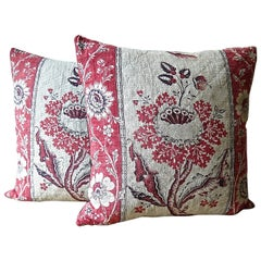 Pair of Blockprinted Stylised Flower Pillows, French, 18th Century