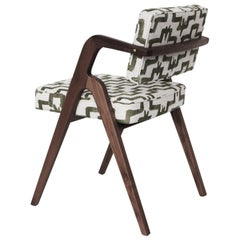 Stock Eugenio Dining Chairs in Walnut with Zak+Fox Upholstery by Luteca