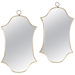 Double Shield Form Modernistic Brass Frame Mirrors
