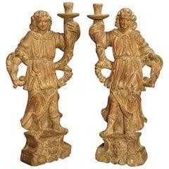 Beautiful Pair of Stripped 17th Century Italian Torchbearer Candleholders