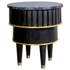 Greta Oak Brass Corian & Sodalite Side Table by Felice James, 2017
