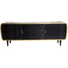 Iris Oak Brass and Corian Credenza Dry Bar Cabinet
