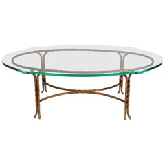 Gilt Metal Coffee Table Attributed to Maison Baguès