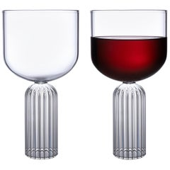Pair of Czech Contemporary May Large Glasses Handmade, in Stock