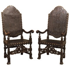 Pair of Antique Tooled Leather and Oak Armchairs from Spain
