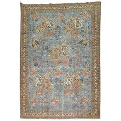Light Blue Antique Persian Afshar Rug