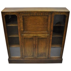 Oak Mission Arts & Crafts English Drop Front Secretary Desk Bookcase by Goodalls