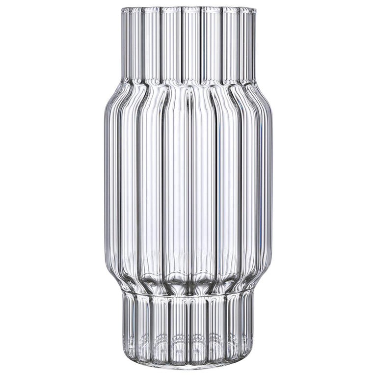Contemporary Czech Glass Albany Large Fluted Vase Handcrafted, in Stock