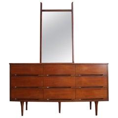 Mid-Century Modern Walnut Dresser and Mirror
