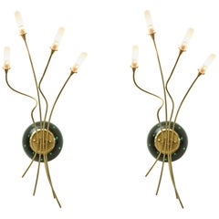 Contemporary Pair of Sculptural Murano Glass Infinity and Brass Sconces