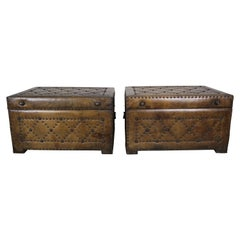Pair of Spanish Leather Tufted Chests with Nailhead Trim