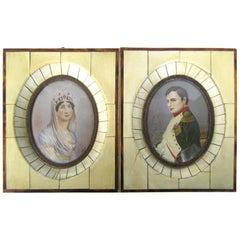 19th Century Pair of Miniatures of Napoleon and Josephine De La Roche