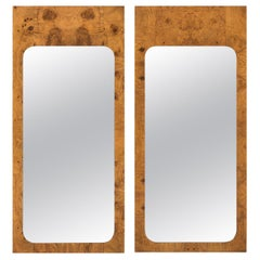Pair of Milo Baughman Burl Walnut Mirrors