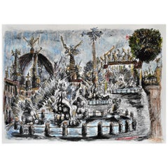 Italian Tono Navona Square Landscape Painting in Grease Wax, Lithographed Paper