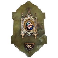 Antique Holy Water Font French Bronze Champleve Green Onyx Miniature Painting