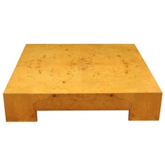 Mid-Century Modern Large Low Parsons Square Burl Wood Coffee Table Milo Baughman