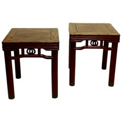 Pair of Elmwood and Red Lacquer Stools or Side Tables, Chinese 19th Century
