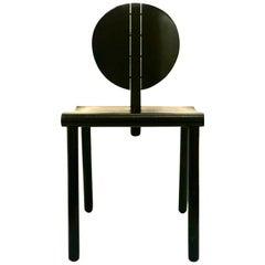 Post Modern Italian Chair in Leather Seat & Ebonized Oak Frame by Crassevig